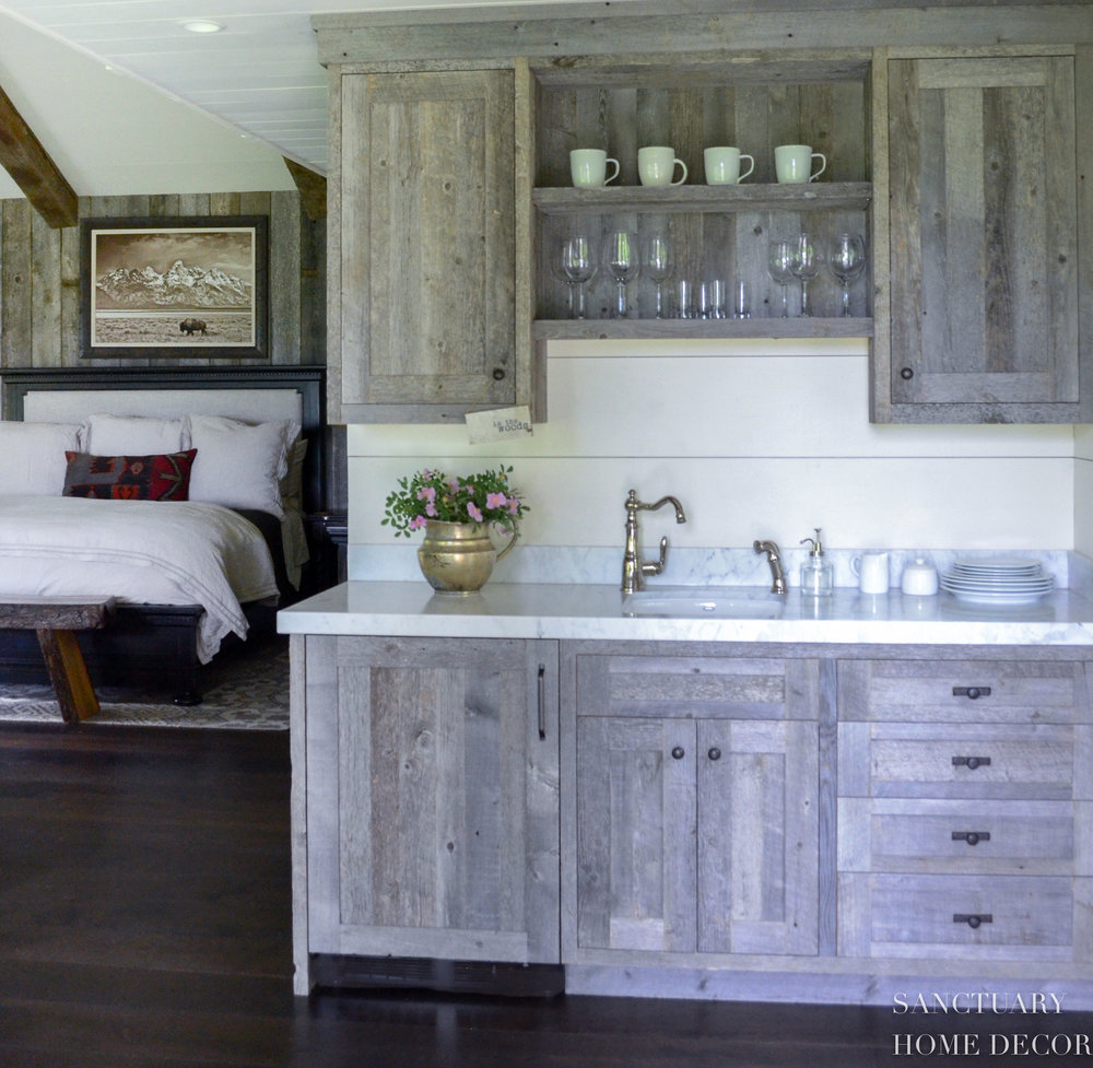 Reclaimed Barn Wood Cabinets Accent Wall