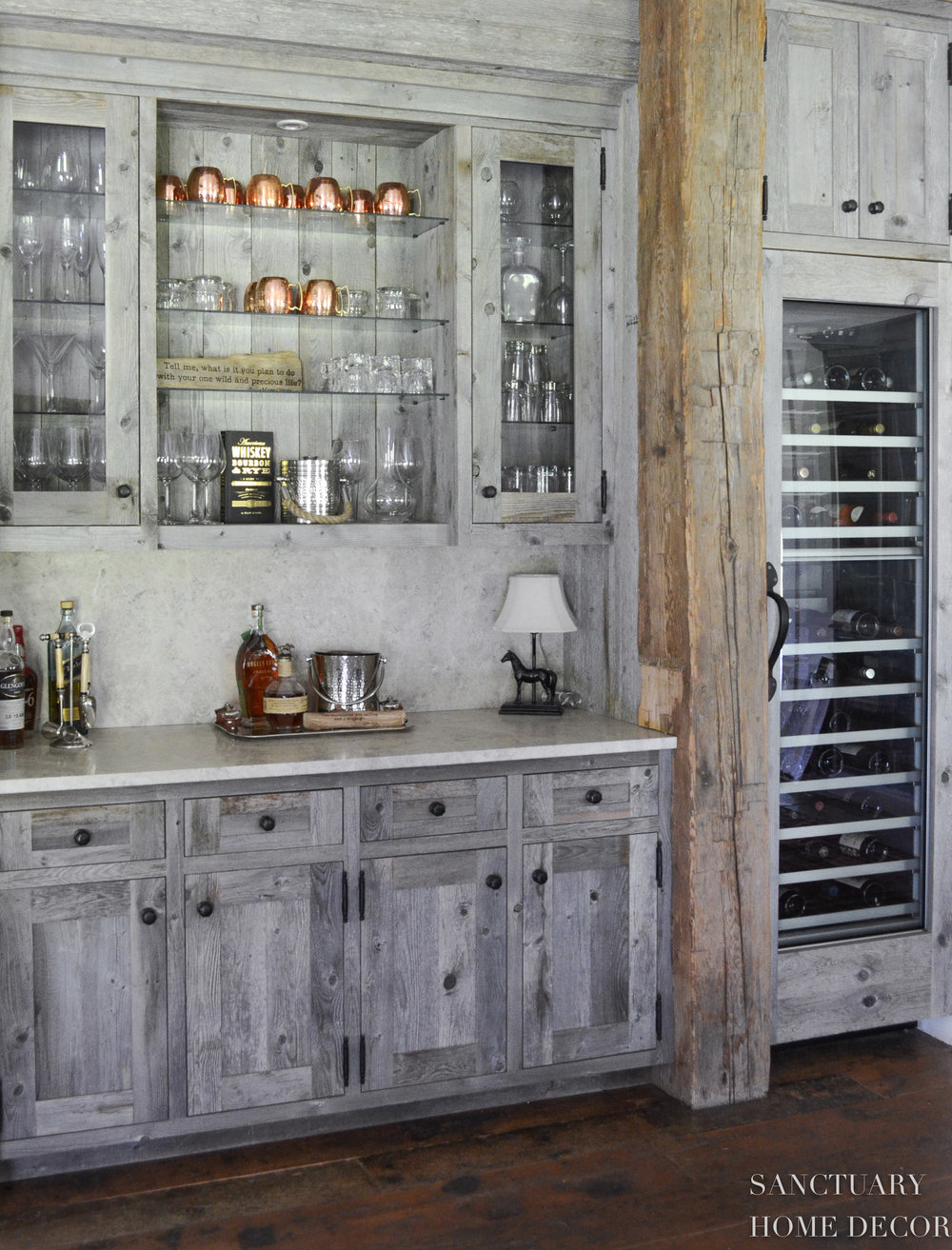 Reclaimed Barn Wood-Bar-Thermador-Wine-Cabinet