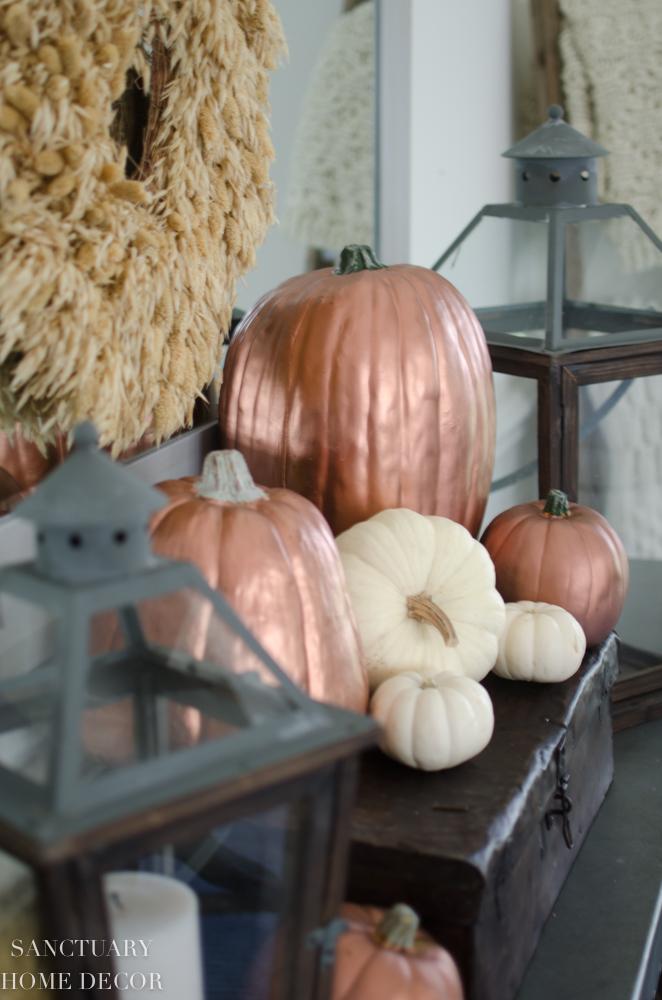 Fall Decorating Ideas-Copper Pumpkins