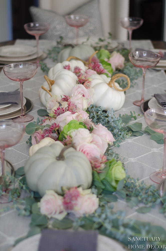 Pastel Fall Tablescape -Pink-Green-White
