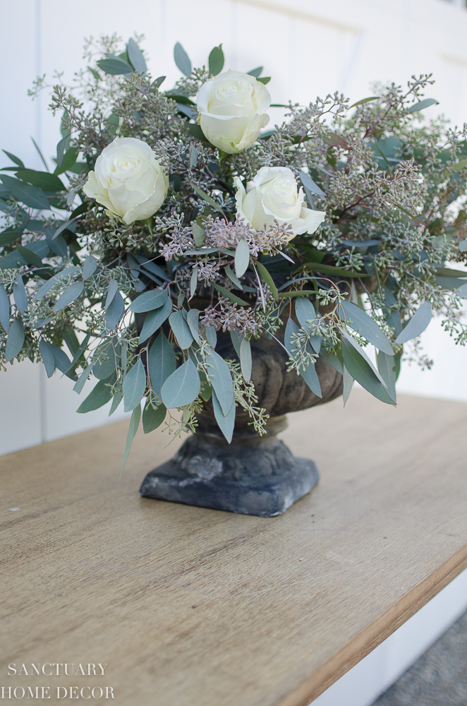 Easy Rose and Eucalyptus Centerpiece