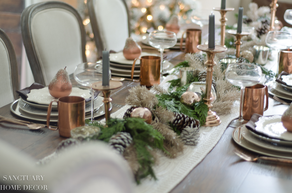 Christmas Table Setting with Garland Centerpiece & Copper Accents-5.jpg