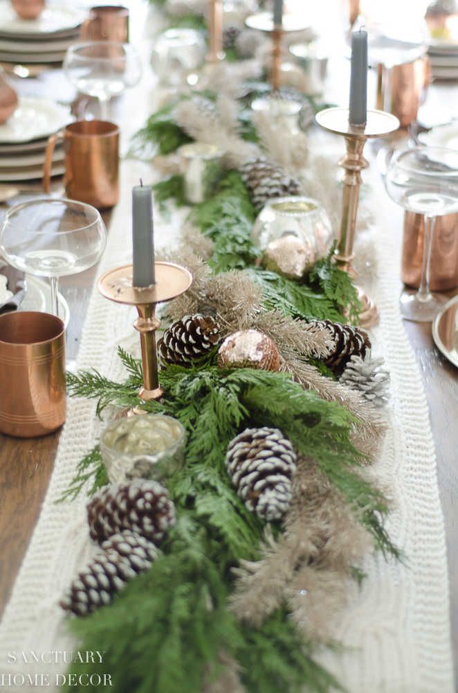 Christmas Table Setting with Garland Centerpiece & Copper Accents-3.jpg