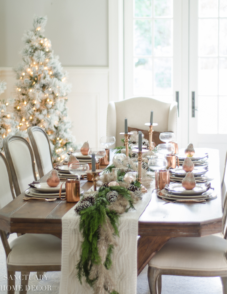 Christmas Table Setting with Garland Centerpiece & Copper Accents-12.jpg