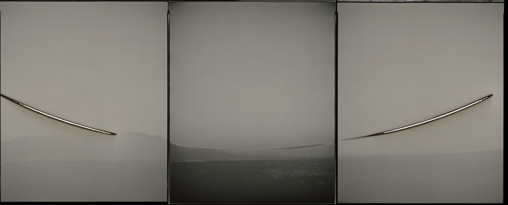 "Sunburned GSP#428 (Sunset/ sunrise, Arctic Circle, Alaska), 2010. Three 20""x24"" unique gelatin silver paper negatives. Collection of the Portland Art Museum, Portland, OR"