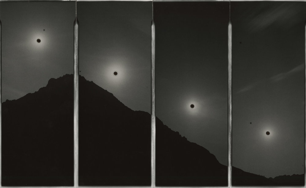 "Sunburned GSP#839 (Every 30 minutes, Arctic Circle, Alaska), 2015. Four 4""x10"" unique gelatin silver paper negatives. Private collection"