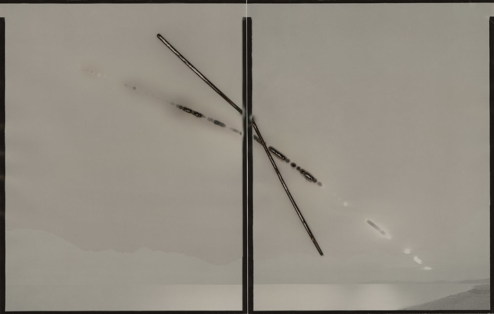 "Heliograph #71(Strait of Juan De Fuca/Mojave),2015. Two 11""x14"" unique paper negatives. Private collection"
