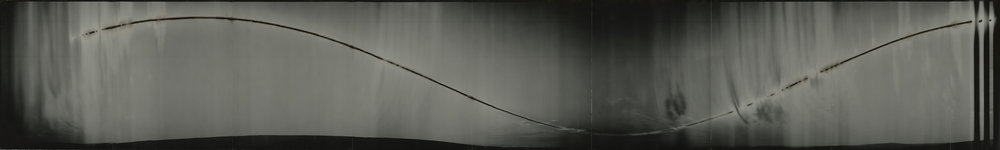 """Cirkut #10 (North Slope, Alaska, within the Arctic Circle, 28 hours), 2014. 14""""x 92"""". Unique constructed gelatin silver paper negative. Personal collection."""