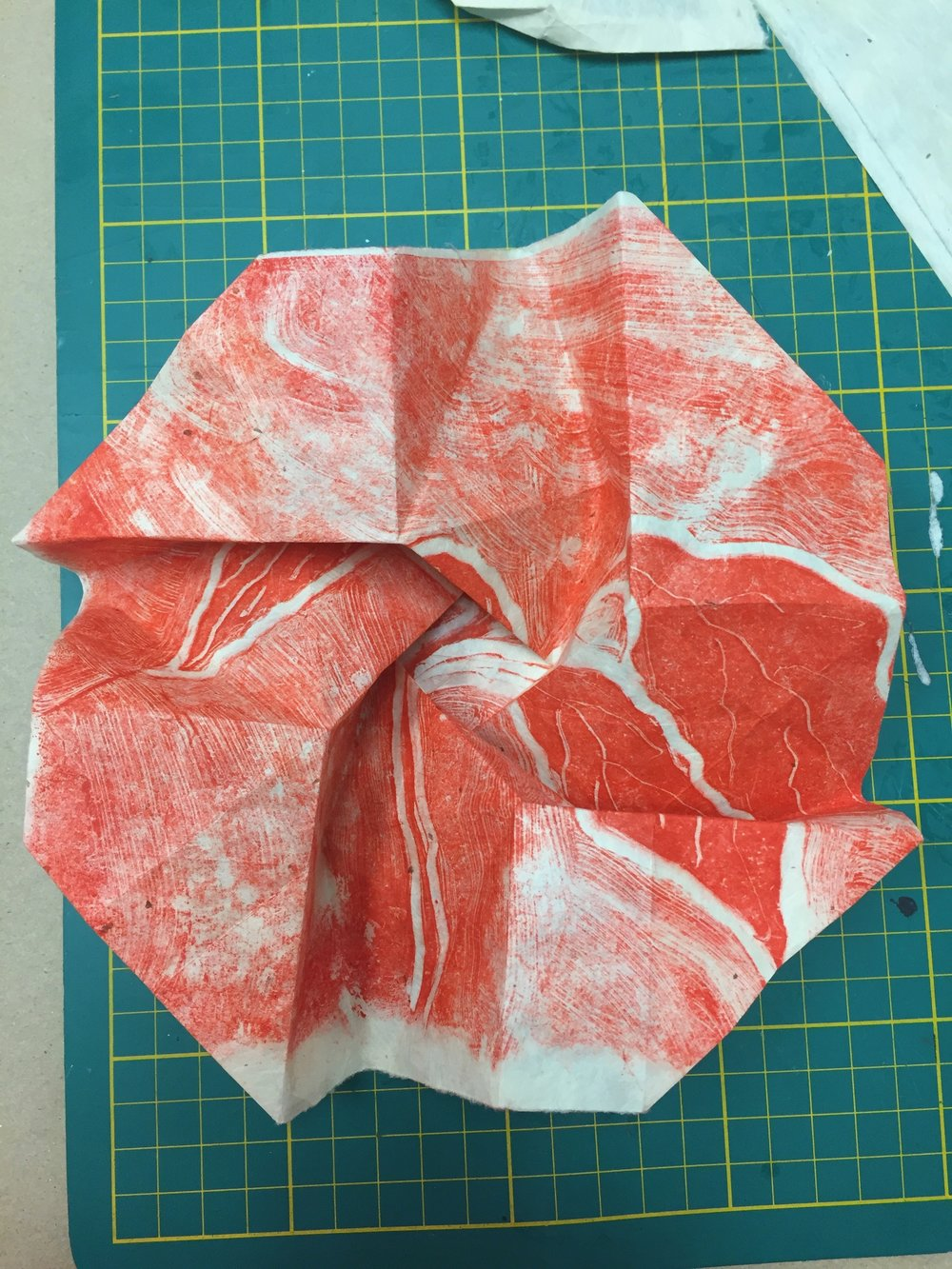 using cut monoprint for origami