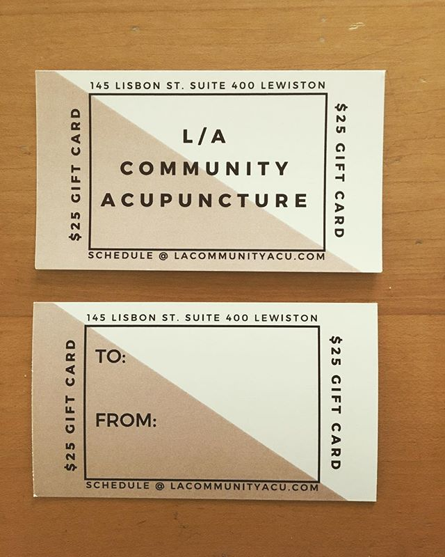 Give the gift of a relaxing poke! ($25 gift cards now available at the clinic, good for one acupuncture treatment.) #communityacupuncture #acupuncture #lewistonmaine #auburnmaine