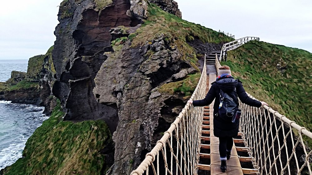 Walking into the new year like a boss. - PC: the hubby at Carrick-a-Rede Rope Bridge in Northern Ireland