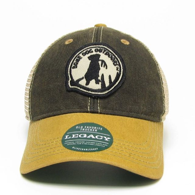 Taking it back to our roots with the Steelers inspired @bonedogoutdoors Legacy patch trucker hat. #shed #sheddog #bonedog #labrador #shedhunting #shedheads