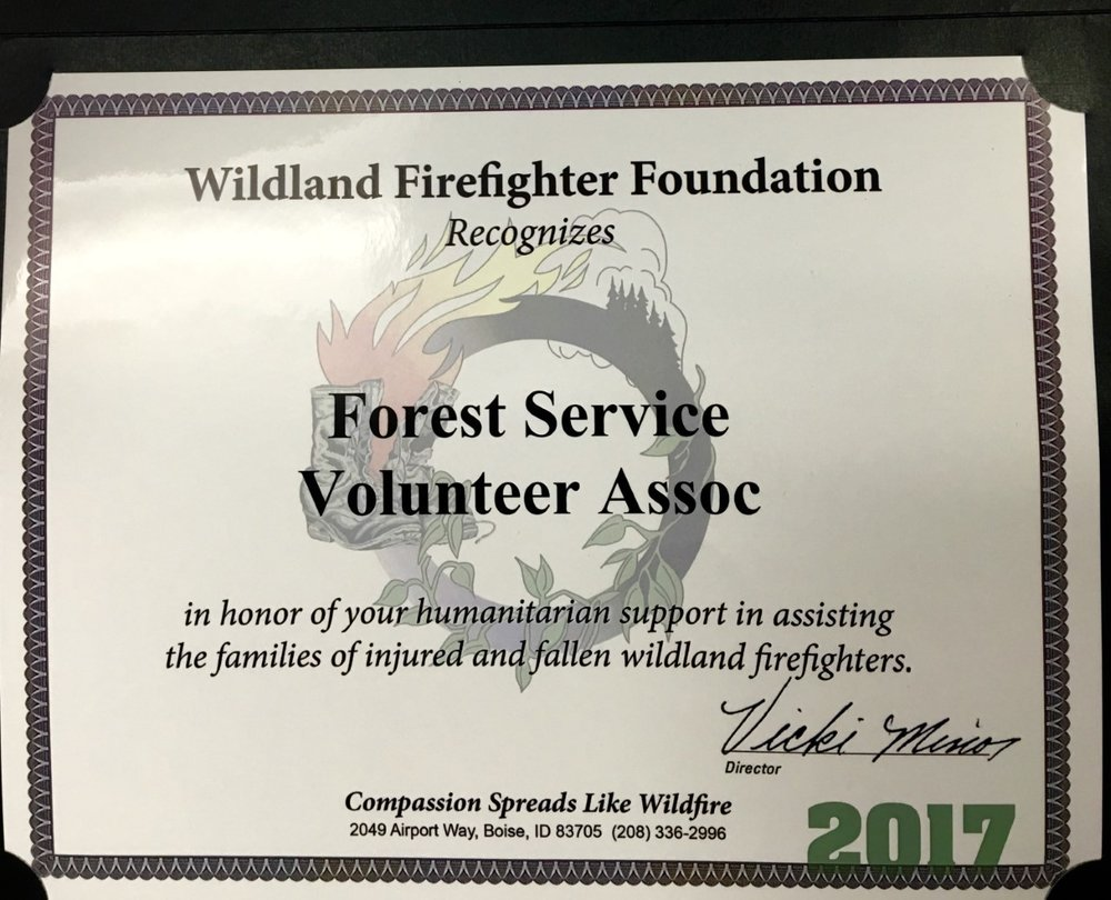 We are honored to receive this certificate from the Wildland Firefighter Foundation! December 13, 2017