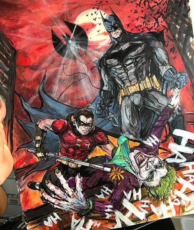 #Batman #Robin #Joker #commission #illustration #painting #ink #comics #dccomics #art #forsale #artwork #bats #paint #fun #artist #illustrator #comicbooks