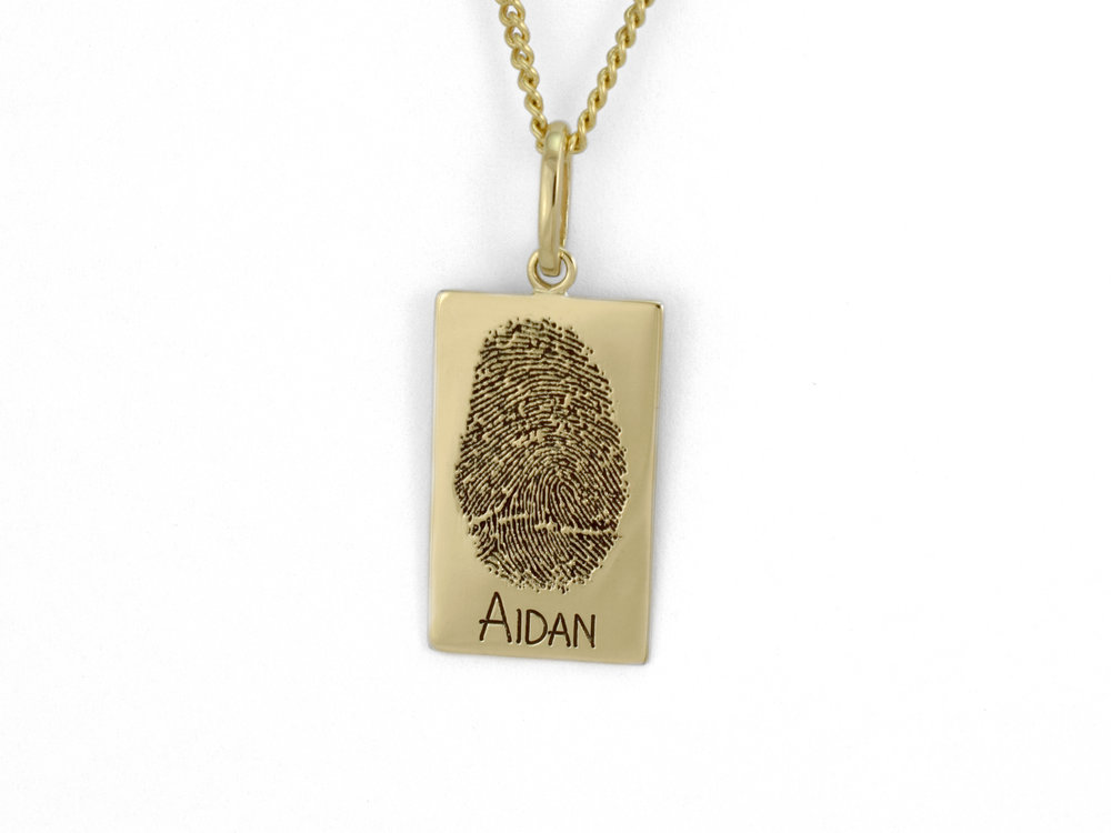 Finger print pendant david taylor master jeweller cairns jeweller for this pendant my son wanted to see what both the print and engraving would look like oxidised we have some options with font types as well aloadofball Images