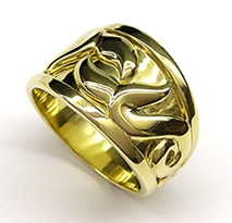 Fern and Whale tail wedding ring 14ct yellow gold from 2007.