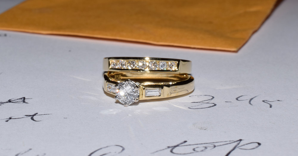 Engagement and Eternity rings after restoration.