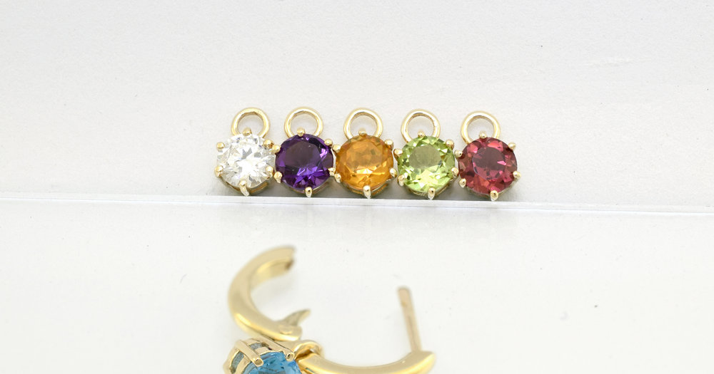 $85  Pod pair only (no hoop)in 9ct yellow gold set with any of the gemstones displayed.