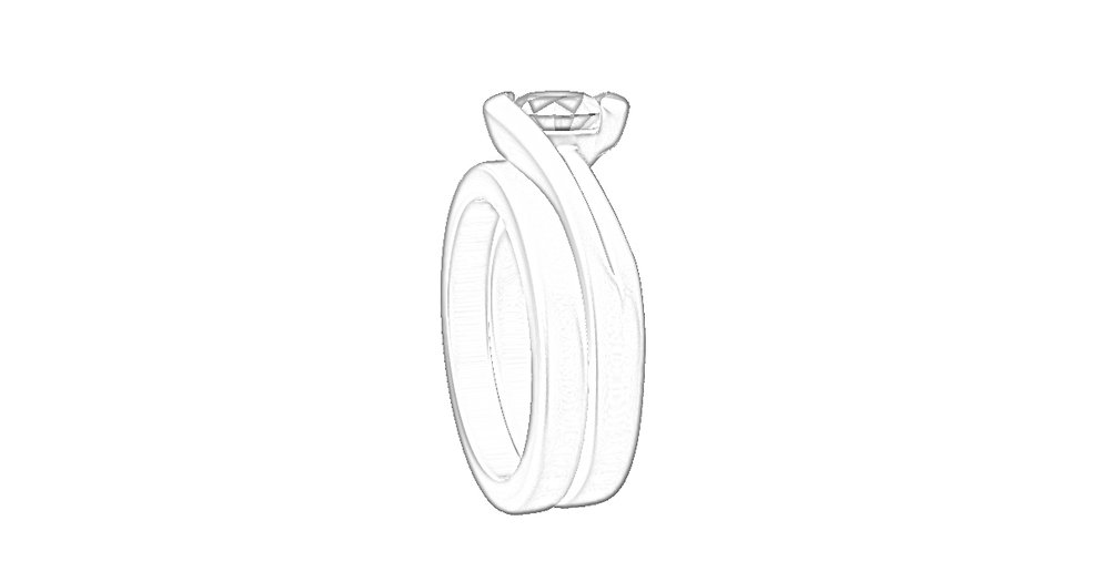 Design allows for a straight wedding ring.