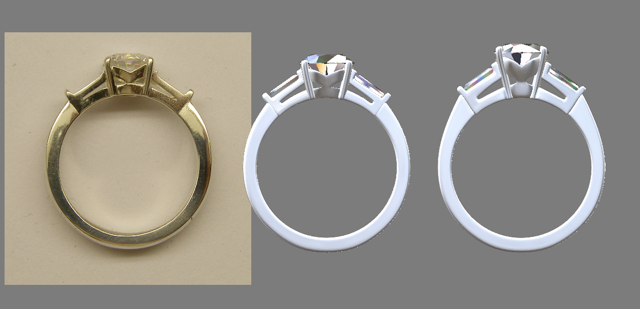 From left to right: the silver draft of her original ring, a digital recreation of it and then the proposed changes.