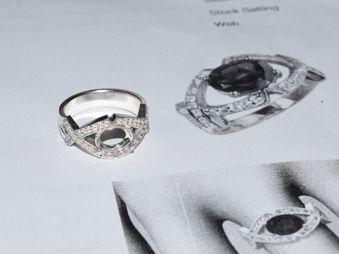 The draft ring to confirm the design and finger size.
