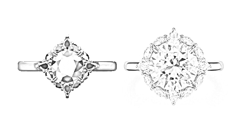.80 carat main diamond on the left and over 3 carats on the right.