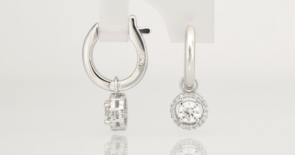 $1590 Hoop and Diamond Drop - 9ct white gold