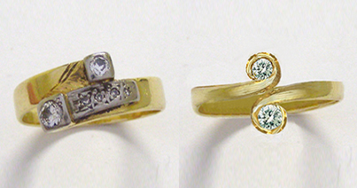 The ring for remodel and the left and on the right the digital mockup of the design in Photoshop.
