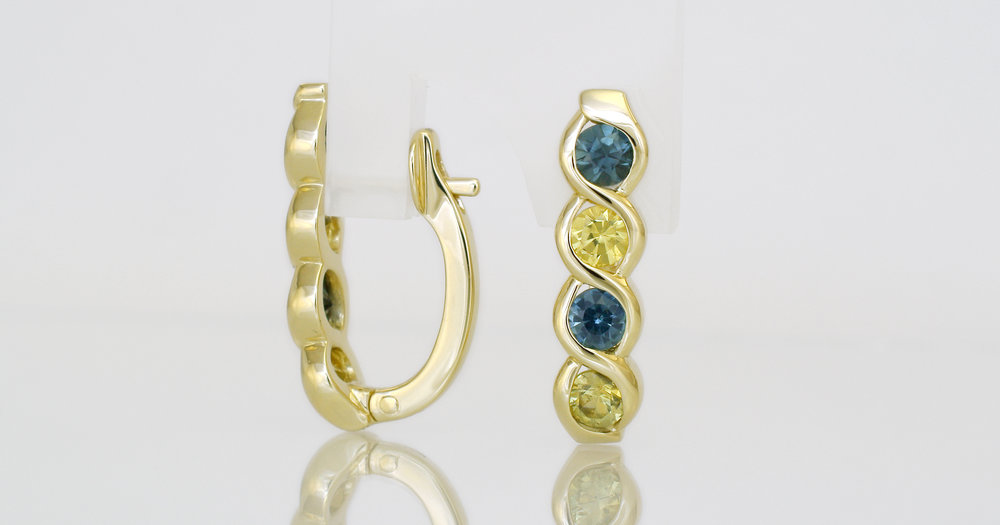Finished earrings in 18ct yellow gold