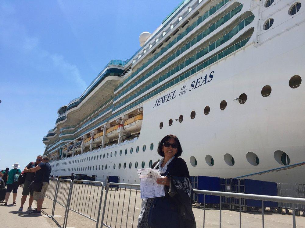 Boarding the cruise.