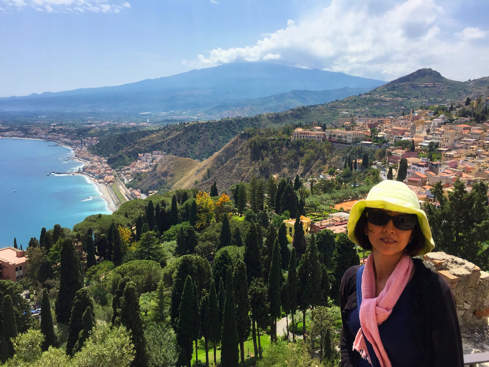 The view from Taormina down to the coast.