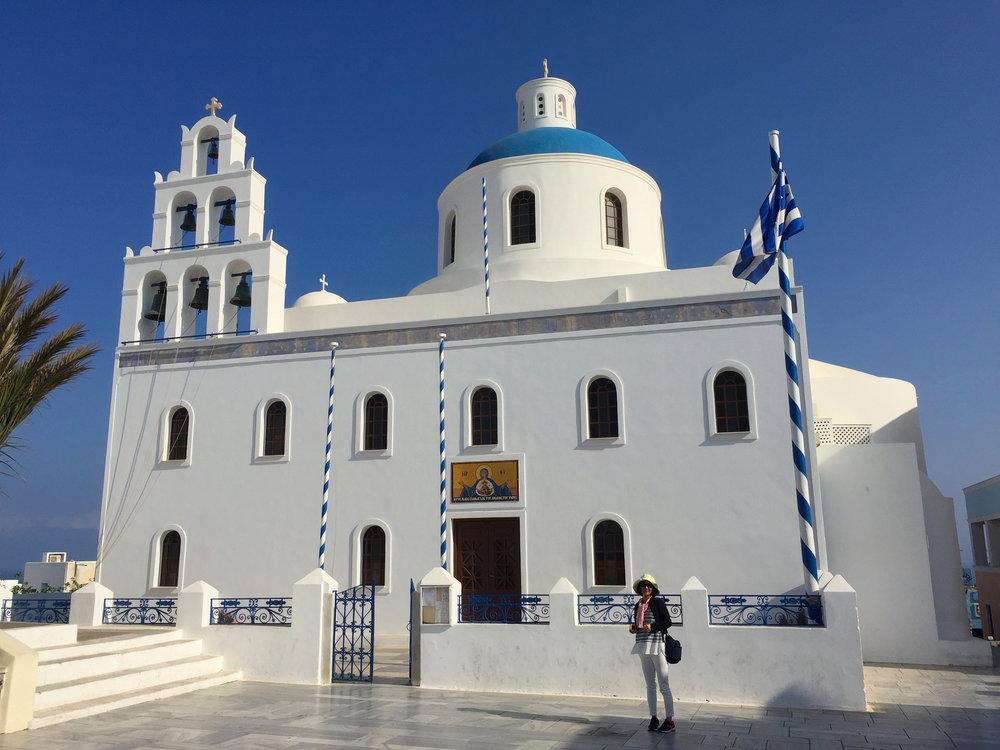 Church as you enter Oia .