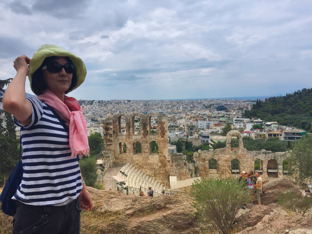 View of Odeon of Herodes Atticus and Athens from the Acropolis.