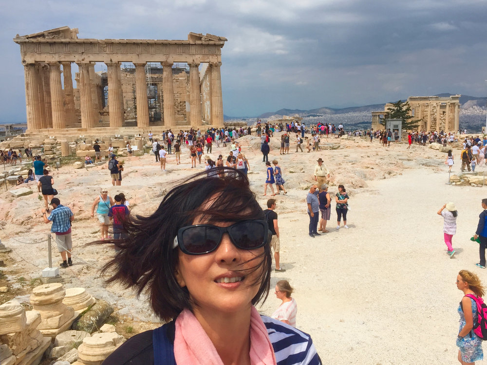 View of the Parthenon on the left and old Temple of Athena on the right.  Really windy!