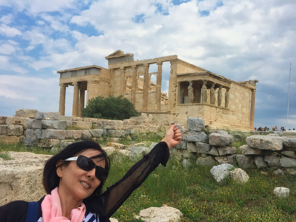 The old Temple of Athena on the way out. Time to walk a fair way and the skies start to clear. It is starting to get hot.