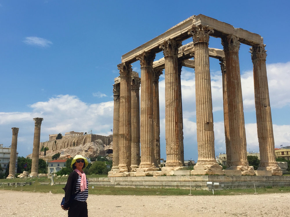 The weather is back to beautiful now as we walk around the Temple of Olympian Zeus…but it is very hot.