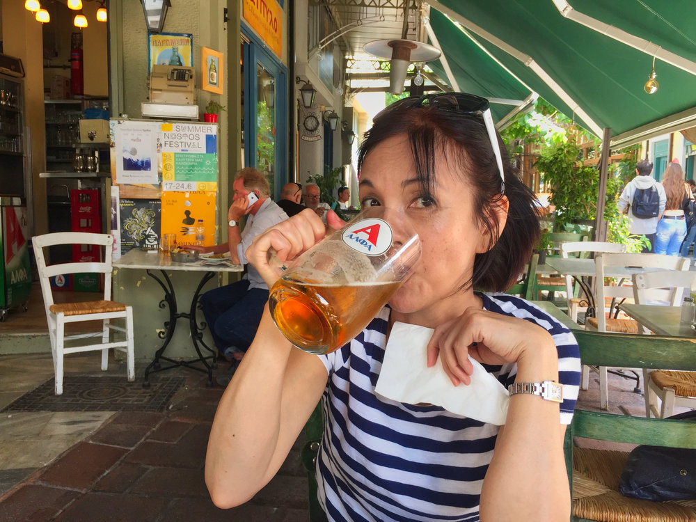 Time for a late lunch. I hope you are going to eat something Yumi?  Most meals came with  a 500mm beer for about 5 euro. This one came with free bread and desert. Cheaper than Australia.