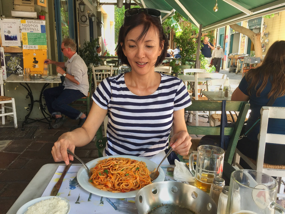 One of the two things Yumi looked for everywhere we went was pasta.