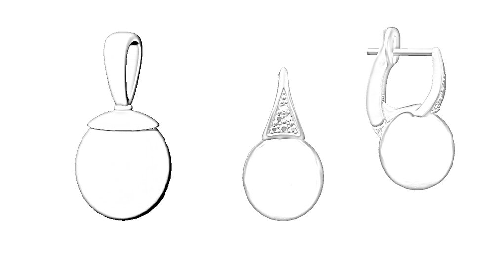 Simple design for the pendant and diamond clip hoops for the earrings.