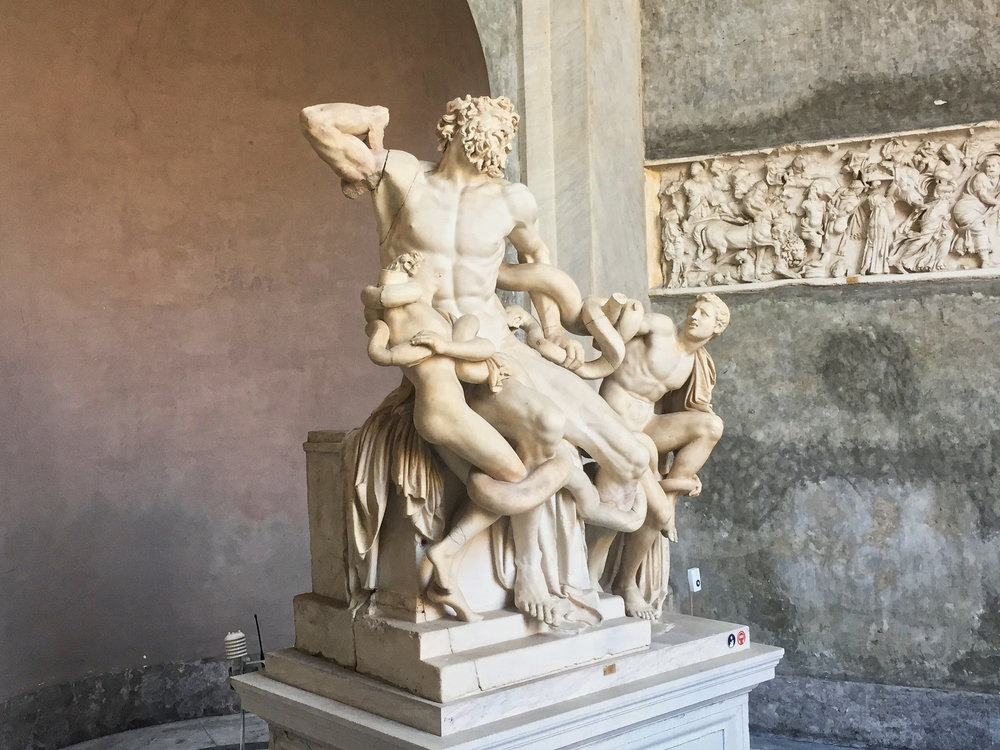 Tour guide told us many of the statues were very old but replicas all the same of originals. This is the Trojan priest Laocoön and his two sons losing a battle to the death with two sea serpents.