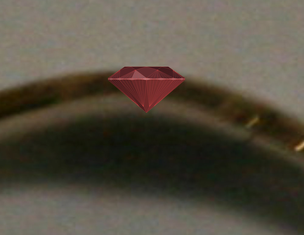 Even a 1mm diameter gem would be too deep for this ring.