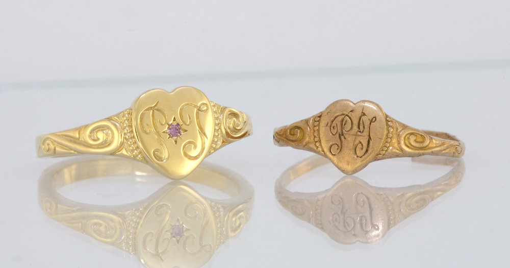 18ct yellow gold ring on the left and 9ct ring on the right.