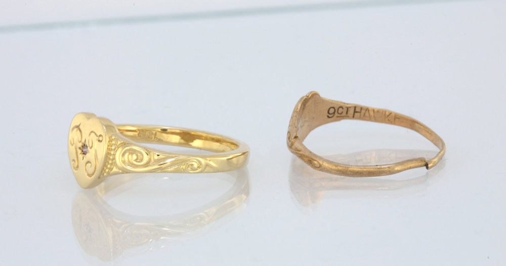The original weighed 0.5 grams and the new ring 2.8 grams.