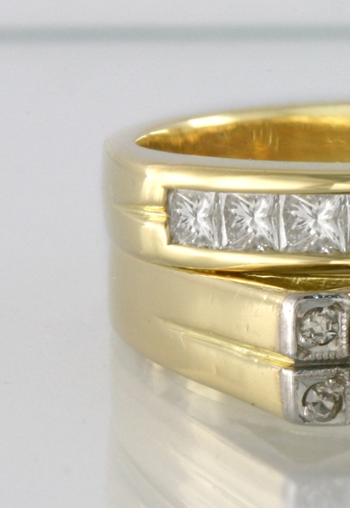 Two 18ct yellow gold alloys of different colour.