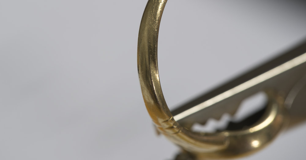 Side of the ring worn away from rubbing next to anther ring.