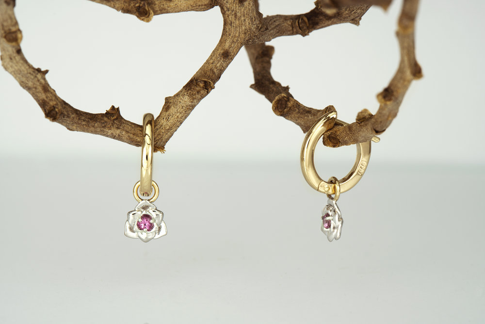 Pink Tourmaline in 9ct yellow and white gold clip hoops.