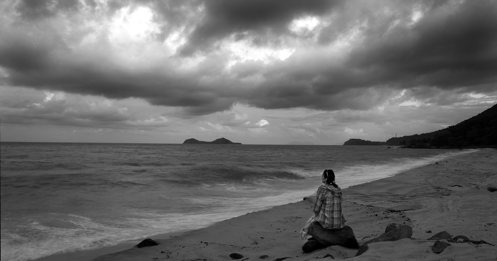At Ellis beach for sunset with my wife on a cloudy day looking back to Wangal Djungay.