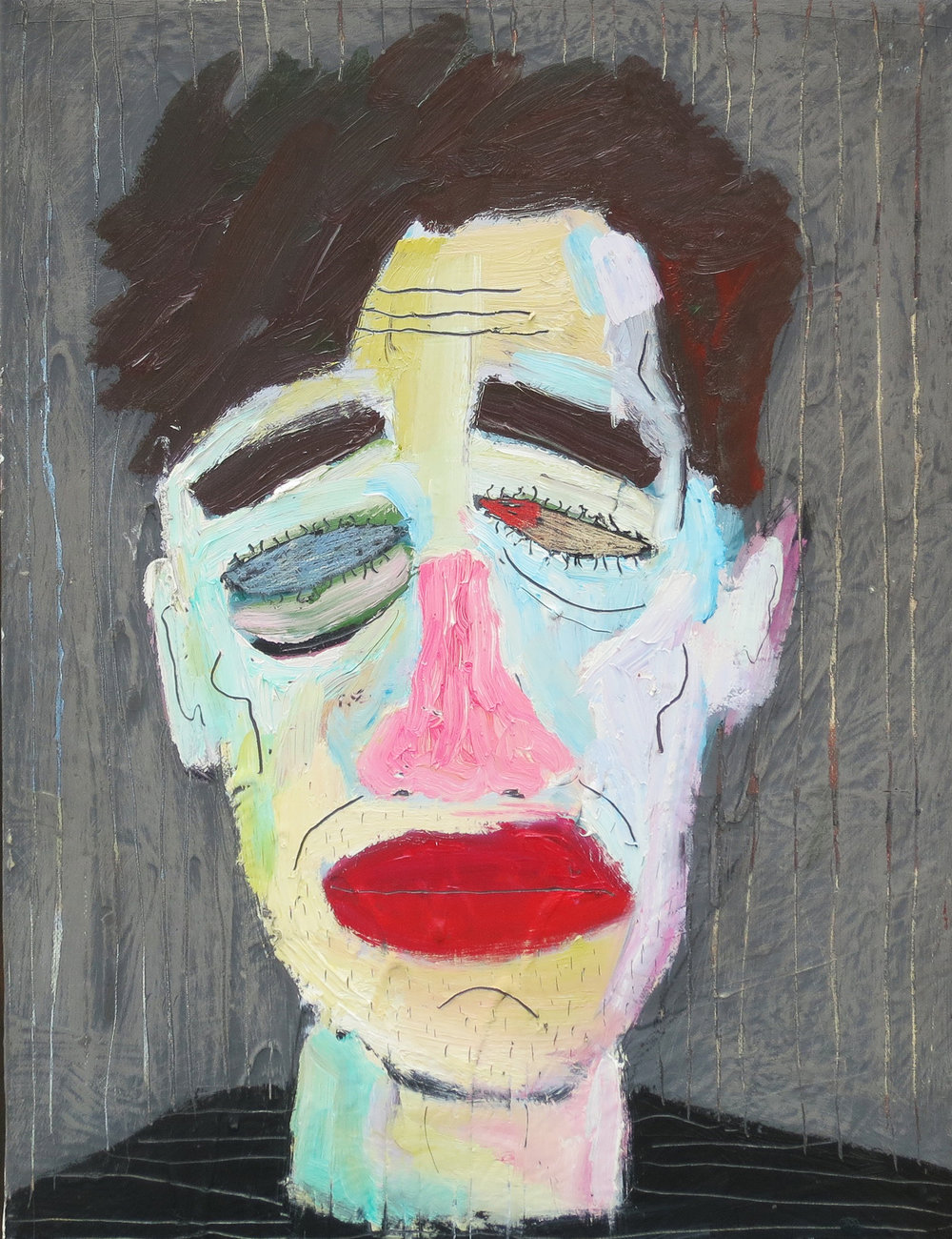 Self-Portait as Punchinello; Oil and marble dust on canvas, (14 x 16 inches), 2015.jpg