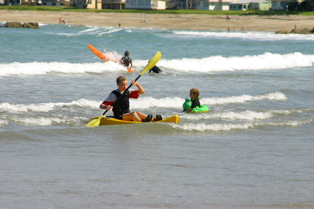 Kayaking through the gentle surf or around the islands is great fun