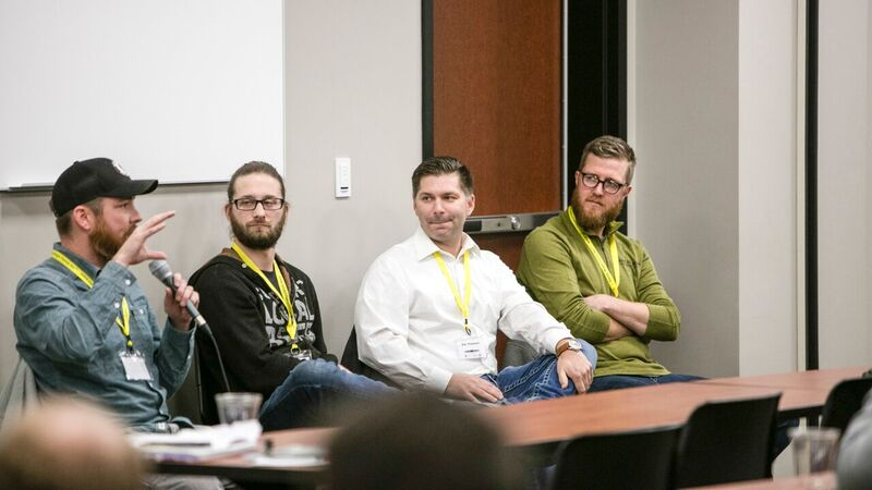 From the 2017 Grower and Brewer Conference.  Pictured from left to right - Caleb Pollard - Scratchtown, Dallas Archer - Upstream,  Zac Triemert - Brickway, and Marcus Powers - Zipline